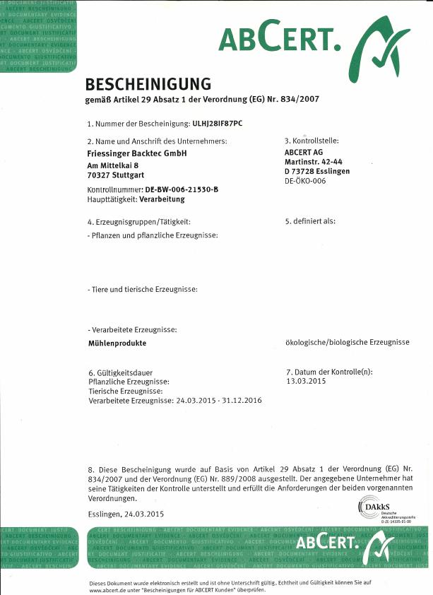 Unser BIO-Zertifikat