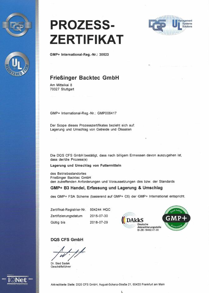 Unser GMP+-Zertifikat