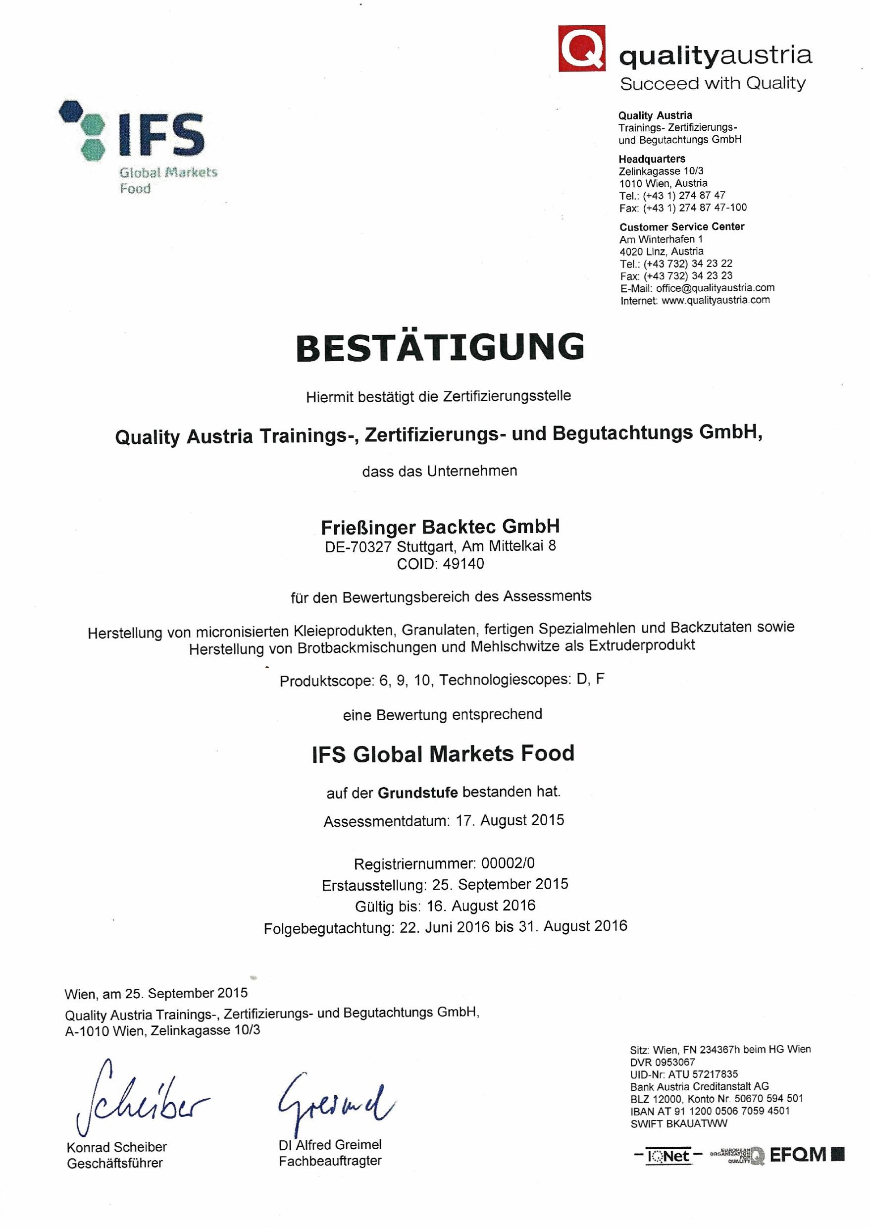 Unser IFS-Zertifikat