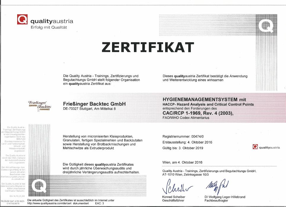 Unser HACCP-Zertifikat